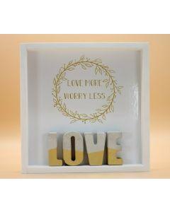 "Wandbild aus Holz ""LOVE"" Gold"