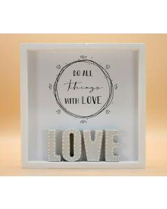 "Wandbild aus Holz ""LOVE"" weisse Punkte"