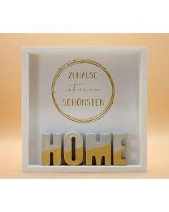 """Wandbild aus Holz """"HOME"""" Gold"""