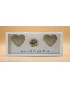 Wandbild aus Holz kurz zwei Herzen und Rose