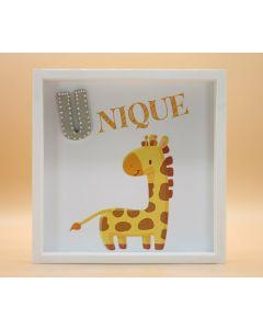 """Wandbild aus Holz """"UNIQUE"""" Giraffe - ohne Spruch"""