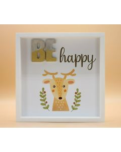 "Wandbild aus Holz ""BE happy"" Elch - ohne Spruch"
