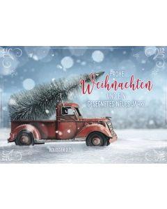 """Faltkarte """"Frohe Weihnachten - Pickup mit Tannenbaum"""""""
