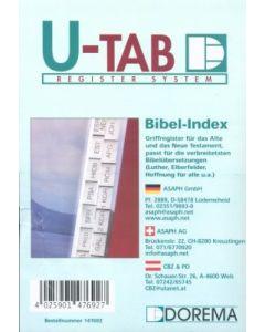 Bibel-Griffregister - schwarze Schrift auf weißem Grund