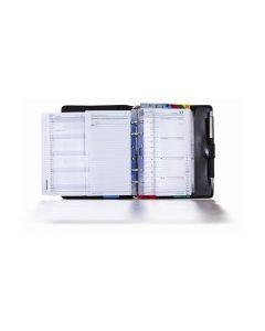 Komplettsystem aus Kunstleder, mit Kalendarium 365/2 (1 Tag auf 2 Seiten mit Motivationstext: Zitate) und Organisationsteil, ohne Verschluss