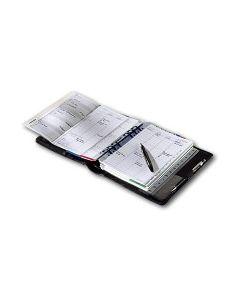 Zeitplansystem komplett aus Rindleder, mit Kalendarium 52 (1 Woche auf 2 Seiten) und Organisationsteil
